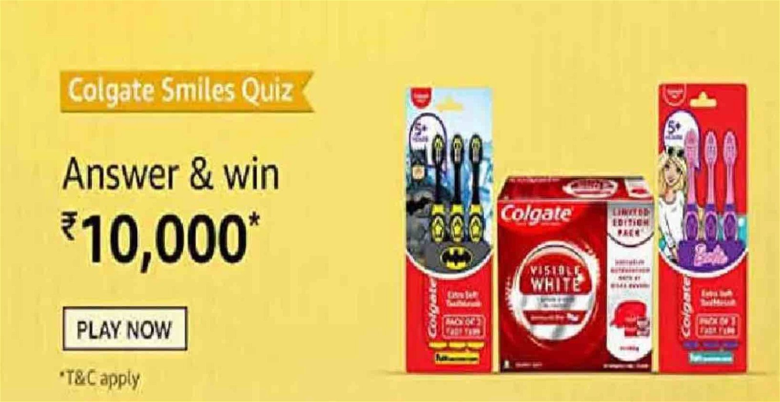 Amazon Colgate Smiles Quiz - What are the contents for the limited edition Colgate Visible White Toothpaste pack?